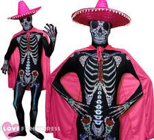 PINK DAY OF THE DEAD COSTUME SKELETON SKINSUIT SOMBRERO HAT CAPE FANCY DRESS