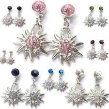 Trachtenschmuck Ohrringe Ohrhänger Edelweiss mit Kristall zum Dirndl 7 Farben