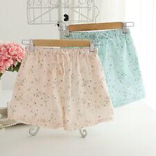 Women Flower Cotton Linen Lounge Shorts Nightwear Pyjamas Sleepwear Drawstring
