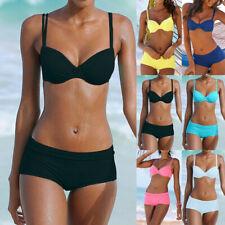Women Push Up Bikini Set Padded Boy Shorts Boxers Swimwear Swimsuit Bathing Suit