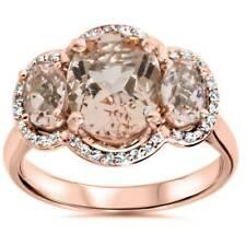 2 3/4ct Morganite 3 Stone Diamond Oval Halo Ring 14K Rose Gold