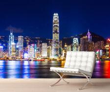 Hong Kong NOTTE Skyline Murale Parete Foto Carta da parati Foto Autoadesivo 1057