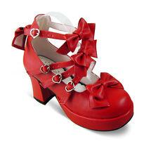 rot red lolita Shoes Schuhe gossip girl Stöckel tea time party sweet bow damen