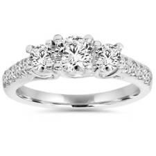 1 1/4ct Three Stone Lab Created Diamond Engagement Ring 14K White Gold