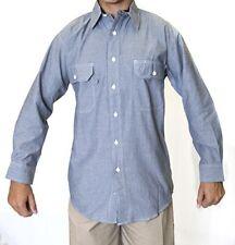 Men's Chambray Long Sleeve Shirt, 100% Cotton
