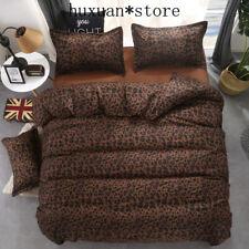 Bedding Set Bed Linen Set Leopard Duvet Cover Sheet Pillowcases Black Queen Size