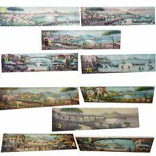 1 dipinto olio su TELA  20x80 cm quadro napoli panorama vesuvio pulcinella