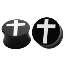 WHITE CROSS BLACK Acrylic Ear Plugs Piercing Jewellery Tunnels Saddle PL182