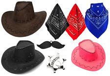 COWBOY FANCY DRESS COSTUME PICK AND CHOOSE HAT MOUSTACHE BANDANA SHERIFF WEST UK
