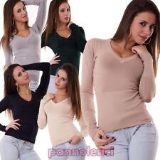 Maglia maglioncino pullover bottoni maglione scollo a V donna nuovo 6777