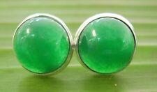 100% REAL 925 sterling silver 10mm HALF CIRCLE JADE Studs  Earrings - GIRL WOMEN