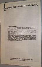 Liste des prix I/1978 pour M+F Catalogue de modèle