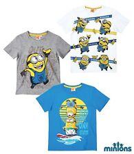 NUEVA Camiseta Niños Die minions MANGA CORTA GRIS BLANCO AZUL TALLA 116 128 140