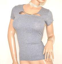 MAGLIA cotone GRIGIO maglietta manica corta sottogiacca T-SHIR girocollo E98