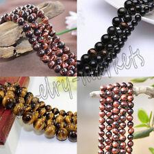 "100% Natural Round Tiger's Eye Beads Jewelry Making Loose Gemstone Strand 15"""