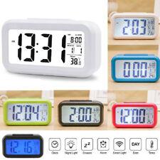 Digital Alarm Wecker Tischuhr LCD Mit Temperaturanzeige&Kalender Weiß/Blau Licht