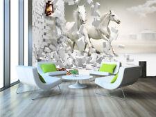 3D Blanc Cheval.33 Photo Papier Peint en Autocollant Murale Plafond Chambre Art