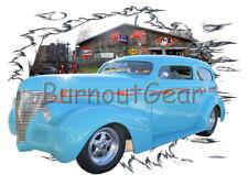 1939 Blue Chevy Chopped Sedan Custom Hot Rod Garage T-Shirt 39 Muscle Car Tees