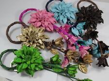 Dahlia Handmade Flower Keychain Handbag Genuine Leather Brown Gold Charm Purse