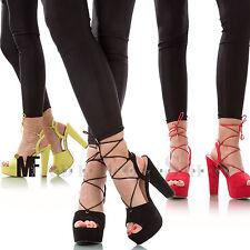 scarpe donna sandali stringati tacco alto 14 scamosciati lacci alla schiava 572E