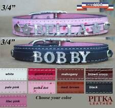 Bling Leather Dog Collars - Custom Dog Collars with Rhinestone Name - medium