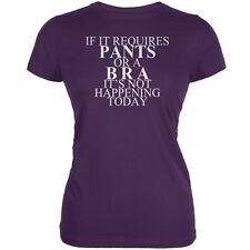 Pants Bra Required Funny Purple Juniors Soft T-Shirt