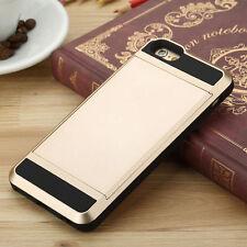 GOLD Slide Case iPhone Samsung Credit Card ID Slim Slot Wallet Pocket + GLASS