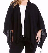 Karen Kane 3L89630W Plus Size Black Drape Fringed Cape - MSRP $138