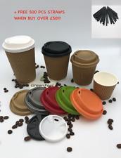 KRAFT RIPPLE TRIPLE WALL PAPER CUPS HOT DRINK DISPOSABLE LIDS TEA COFFE 25-1000!