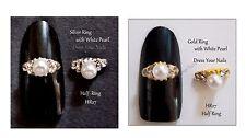 Finger Tip Half Ring 3d Metal Nail Art Gold/Silver Pearl/Rhinestone Alloy Ring