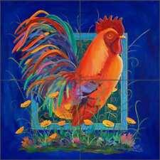 Rooster Tile Backsplash Libby Country Life Art Ceramic Mural SLA004