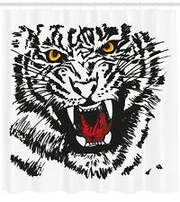 Tiger Shower Curtain Angry Feline Vivid Eyes Print for Bathroom