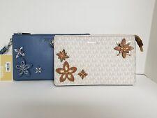 Michael Kors Flowers Daniela Denim Blue Large Leather Wristlet NWT