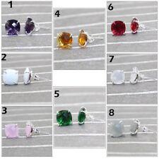 Agate Chalcedony Quartz Silver Plated 10mm Cushion Gemstone Stud Earring Jewelry