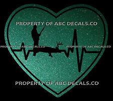 VRS HEARTBEAT Heart HUNTING HUNTER Rifle Gun Ammo Buck Deer Shot CAR METAL DECAL