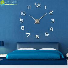 3D DIY Large Wall Clock Acrylic Stickers Watch Decor Living Room Quartz Needle