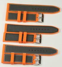 Silicone rubber mens orange watch strap CARBON FIBRE  divers waterproof