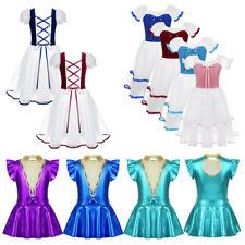 Girls Ballet Dance Leotard Dress Ballerina Dancing Costume Puff Sleeve Dancewear