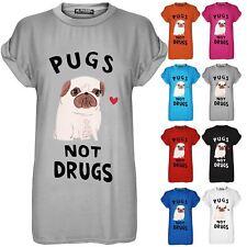 Womens Pugs Not Drugs Heart Print Top Ladies Baggy Cap Sleeve T Shirt Plus Size