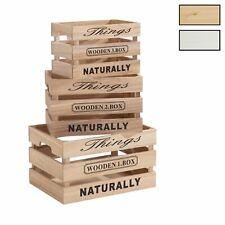 Lot de 3 cagettes en bois caisses de rangement gigognes cageots déco rustique