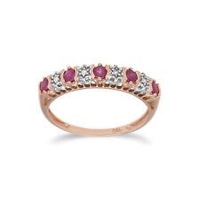Gemondo 9ct Rose Gold 0.31ct Natural Ruby & 2pt Diamond Half Eternity Ring