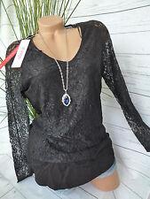 Damen Sheego Spitzen Shirt Bluse Gr. 40/42 - 56/58 Schwarz Übergröße (246)
