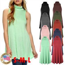 *CLEARANCE* Women's Sleeveless Mock Neck Turtleneck Tunic Top A-line Dress SML