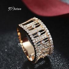 18K YELLOW WHITE GOLD GF SIMULATED DIAMOND WEDDING BAND ENGAGEMENT RING FASHION