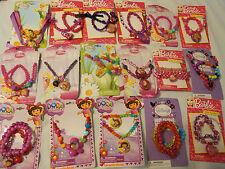 Girls Play Jewelry Bracelet Necklace Set Dora Barbie Disney Fairies Princess Kid