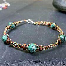 Bracelet Homme Femme Pierres Naturelles - Turquoise d'Afrique Bois Lithothérapie