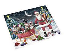 Merry Christmas Santa Sled Alaskan Malamute Dogs Woven Throw Sherpa Blanket T286