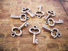 50 Silver Key Charms Steampunk Charms Wholesale Lot Bulk Skeleton Keys