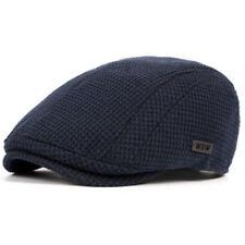 Mens Newsboy Hat Knitted Wool Blend Flat Cap Beret Cabbie Gatsby Golf Driving