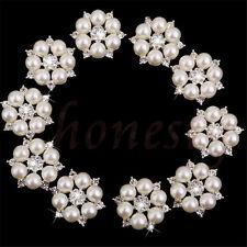 2~10X Diamante Rhinestone Crystal Pearl Embellishment Buttons Cluster DIY Craft